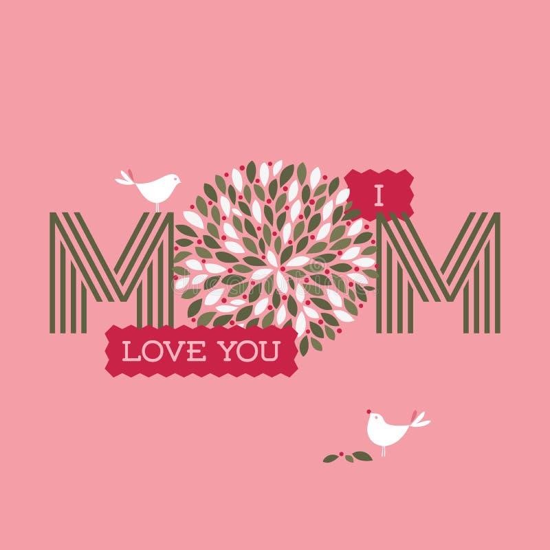 Matka dnia karta z dwa ślicznymi ptakami i Ja kochamy was mama tekst ilustracji