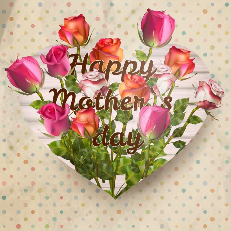 Matka dnia karta z różami 10 eps royalty ilustracja