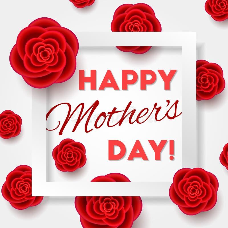 Matka dnia karta z realistycznymi kwiatami royalty ilustracja