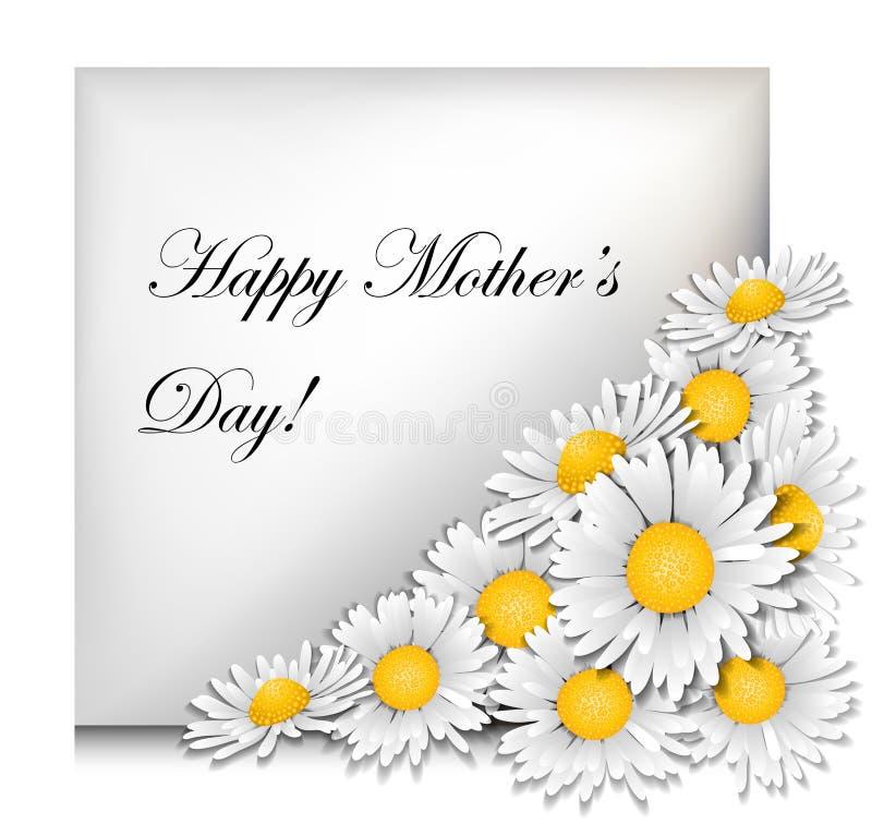 Matka dnia karta z stokrotkami ilustracja wektor