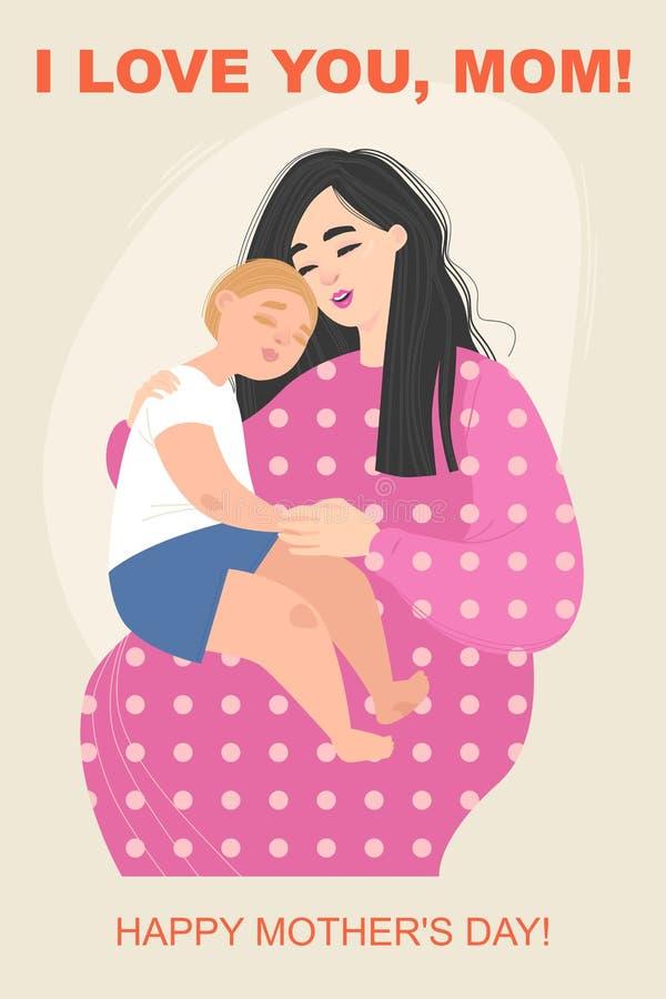 Matka dnia kartka z pozdrowieniami z śliczną kobietą trzyma dziecka na jej kolanach royalty ilustracja
