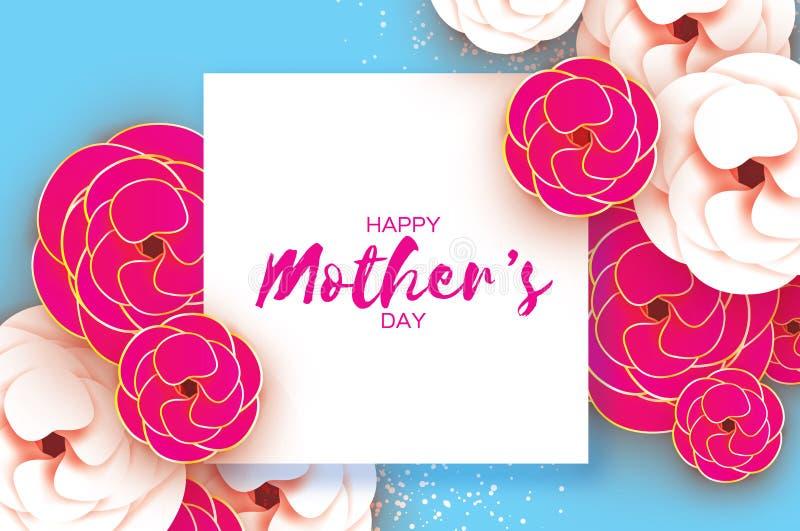 matka dnia kartka z pozdrowieniami dzień kobiety s Papieru cięcia menchii złocisty kwiat Origami Piękny bukiet Kwadratowa rama te ilustracji