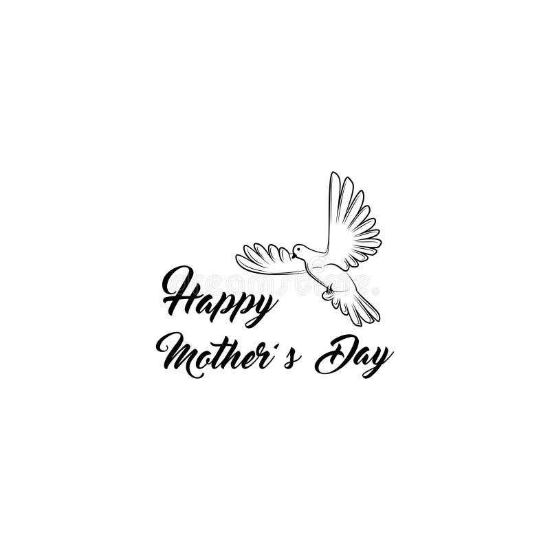 matka dnia kartka z pozdrowieniami Gołąbka ptak Mama wakacyjny prezent wektor ilustracji