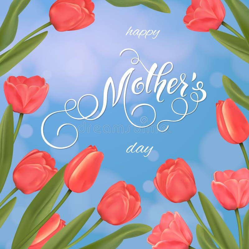 matka dnia kartka z pozdrowieniami Tulipanu tło, wiosna wakacje ilustracji