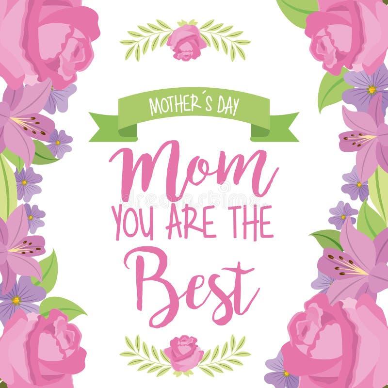 Matka dnia mama najlepszy faborek granicy kwieciste róże ilustracji