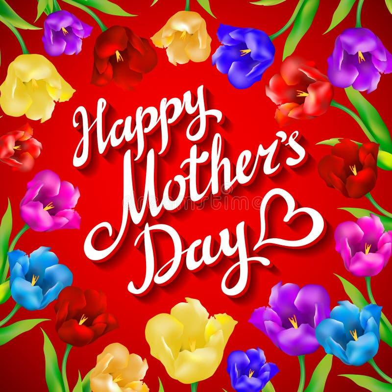 Matka dnia rocznika literowania tło Piękny bukiet kolorowi tulipany i karta na czerwonym tle royalty ilustracja