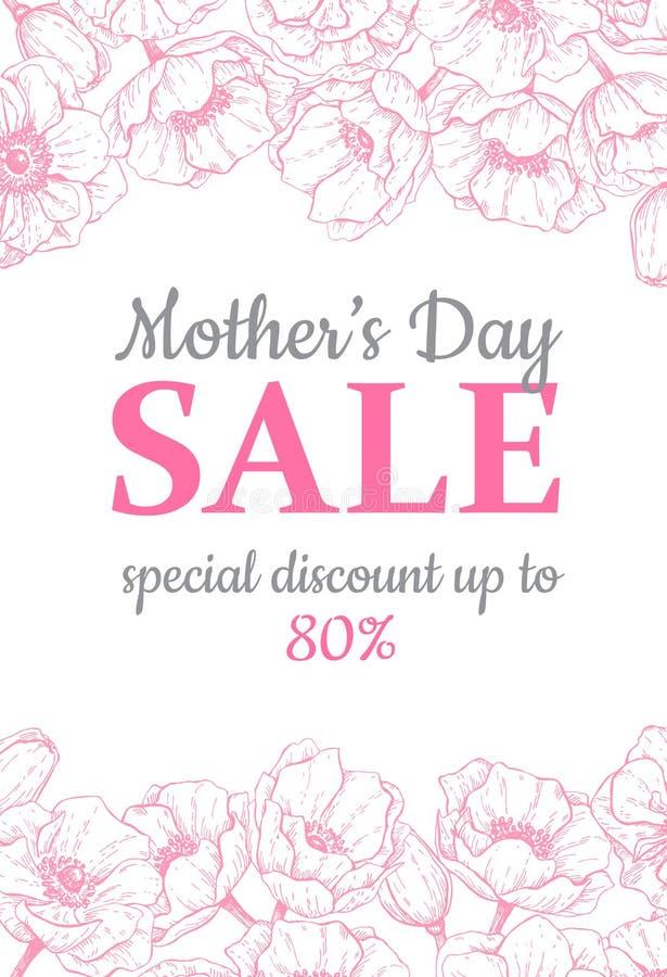 Matka dnia sprzedaży illustation Szczegółowy kwiatu rysunek Wielcy półdupki