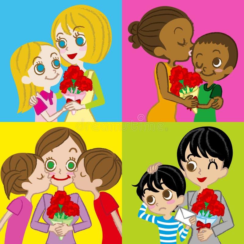 Matka dnia wizerunek, różnorodna matka i dzieci, royalty ilustracja