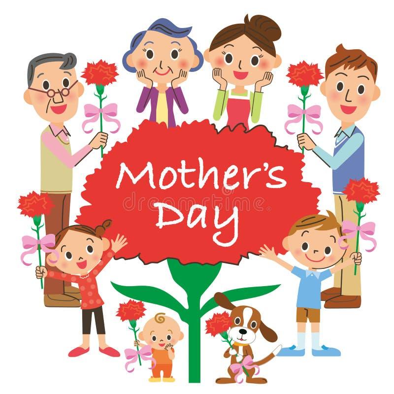 Matka dzień i trzeciego pokolenia spotkanie ilustracja wektor