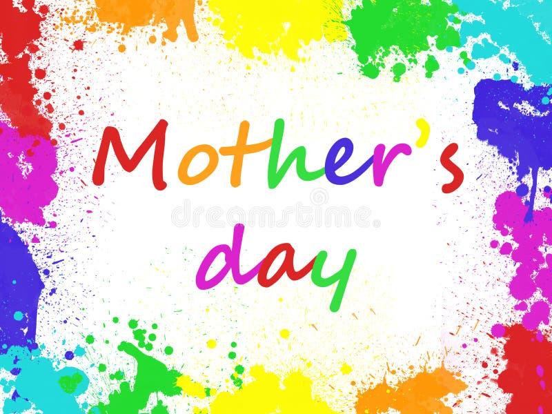 Matka dzień pisać w kolorowej ramie farba ilustracji