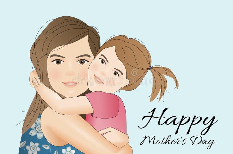 Matka dzień, matka z córką royalty ilustracja