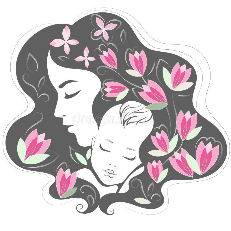 matka dziecka Matka dnia wektoru ilustracja ilustracji