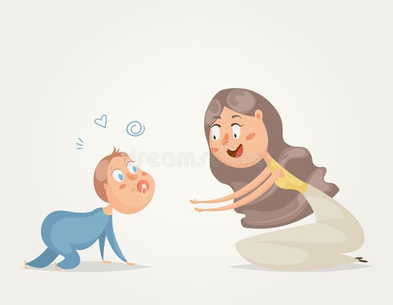 matka dziecka postać z kreskówki śmieszni ilustracji