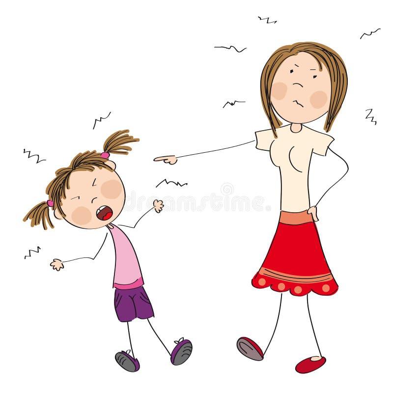 Matka gniewna z jej niegrzeczną córką mówi ona daleko ilustracji
