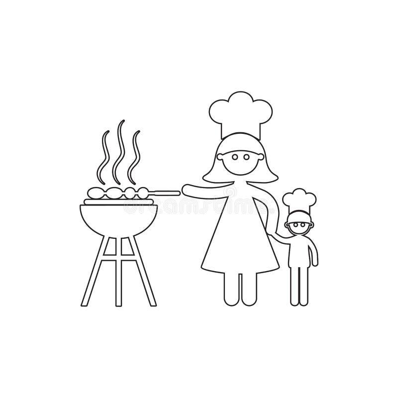 matka gotuje grill ikonę Element cyber ochrona dla mobilnego pojęcia i sieci apps ikony Cienka kreskowa ikona dla strona internet royalty ilustracja
