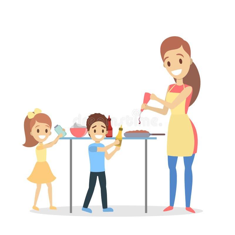 Matka i córka gotuje w domu piekarnia domowej roboty royalty ilustracja