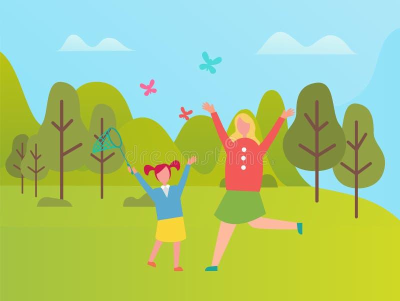 Matka i córka na gazonów Chwytających motylach ilustracja wektor