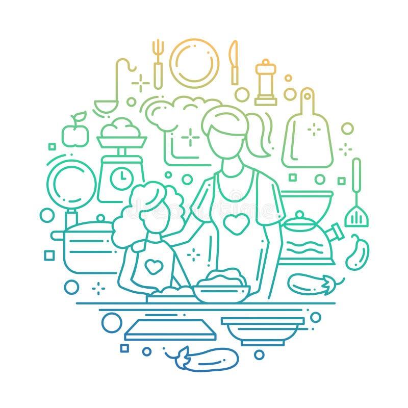 Matka i córka przy kuchnią - kreskowy składu koloru gradient ilustracja wektor