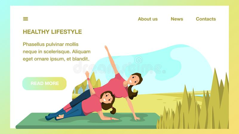 Matka i córka Robi joga sporta miasta parkowi ilustracji