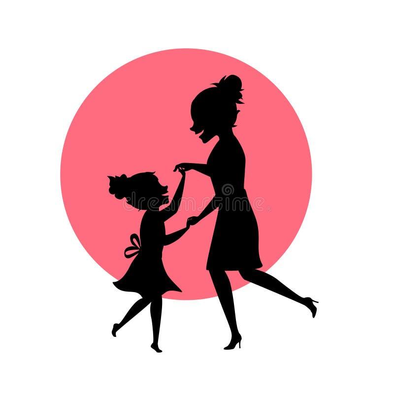 Matka i córka tanczy wpólnie sylwetka wektoru ilustrację ilustracja wektor