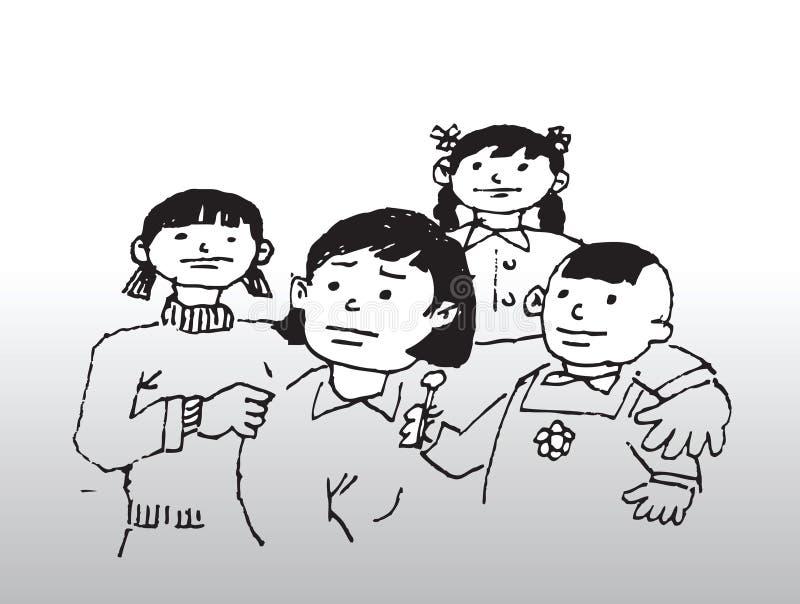 Matka i dzieci royalty ilustracja