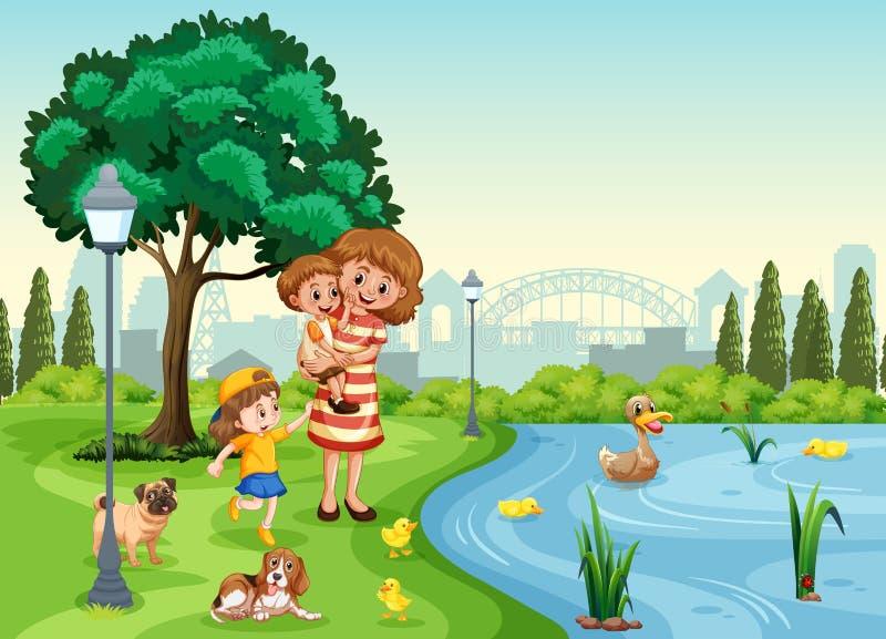 Matka i dzieci przy parkiem ilustracja wektor