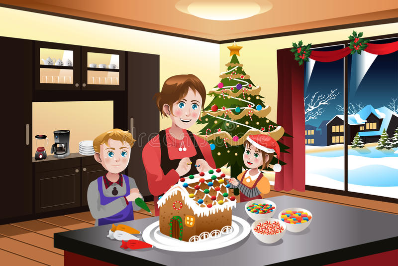Matka i dzieciaki Robi Piernikowemu domowi ilustracji