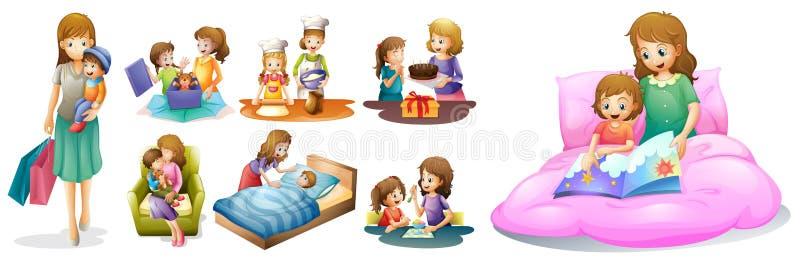 Matka i dzieciaki w różnych akcjach ilustracja wektor