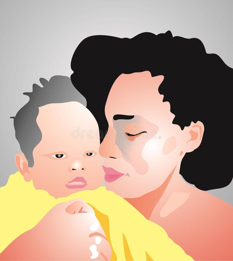 Matka i dziecko royalty ilustracja
