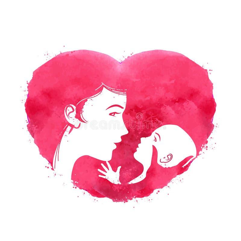 Matka i dziecko logo, ikona, znak, emblemat, ilustracja wektor