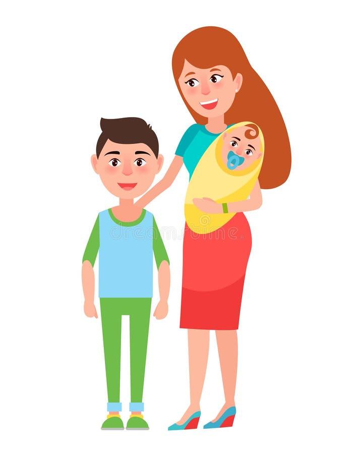 Matka i dziecko Plakatowa Wektorowa ilustracja ilustracji
