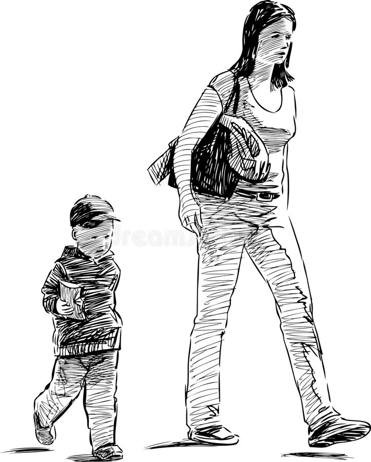 Matka i syn ilustracji