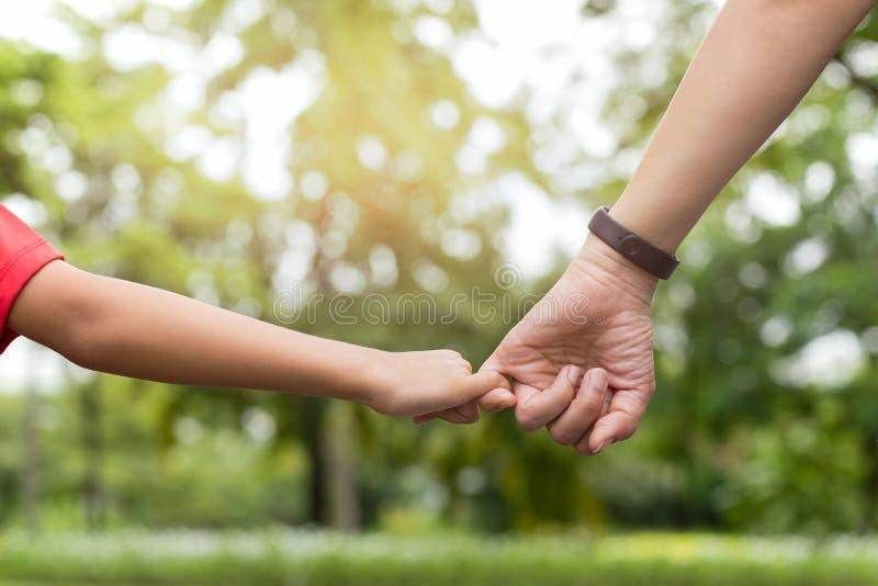 Matka i syn haczy w górę palca robimy ich obietnicie podczas gdy chodzący w parku w lecie zdjęcie stock