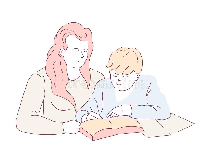 Matka i syn robi domowej edukacji pracy domowej copybook i książki ilustracja wektor