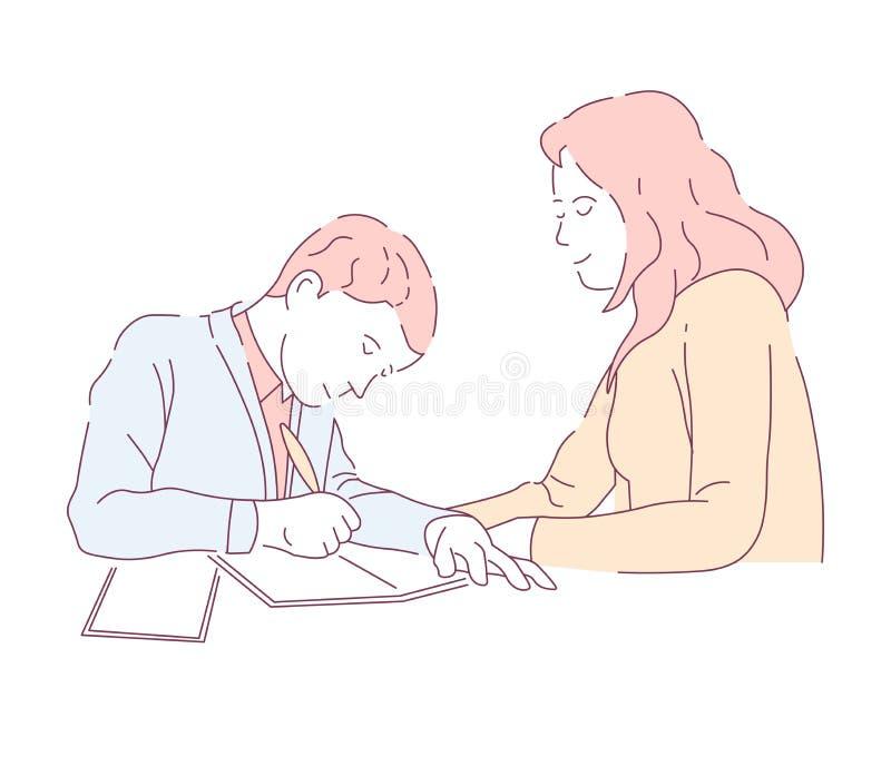 Matka i syn robi szkolnemu praca domowa przydziałowi w pisać ilustracji