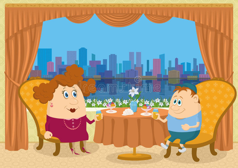 Matka i syn w restauraci royalty ilustracja