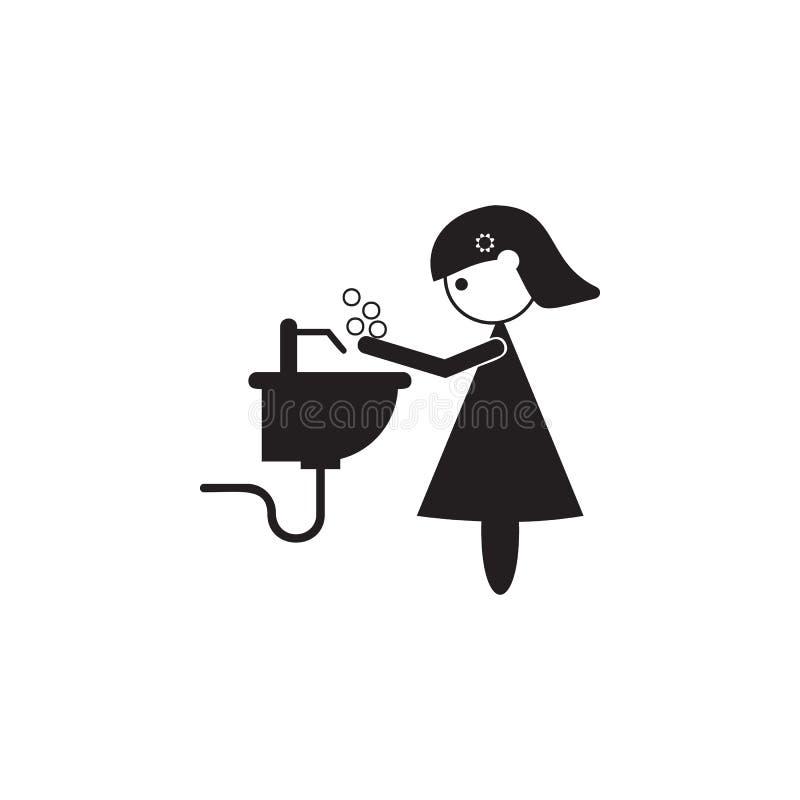 matka myje ona ręki ikona Ilustracja wartości rodzinnej ikona Premii ilości graficzny projekt Znaki i symbol ikona dla websi royalty ilustracja