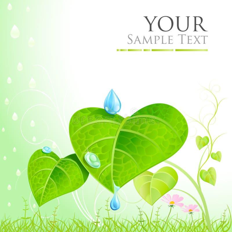 Matka natura liście, mgła i rosa - zieleni, royalty ilustracja