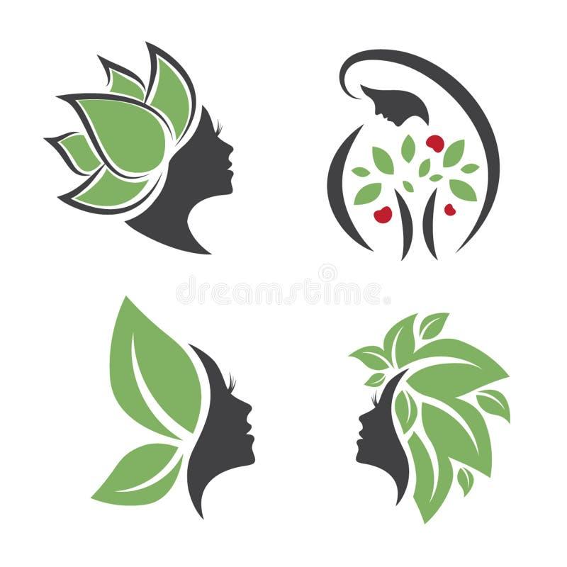 Matka Natura loga kobiety projekta set royalty ilustracja