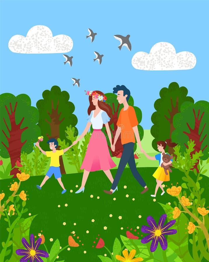 Matka, ojca syn i córka Chodzi Wpólnie, ilustracja wektor