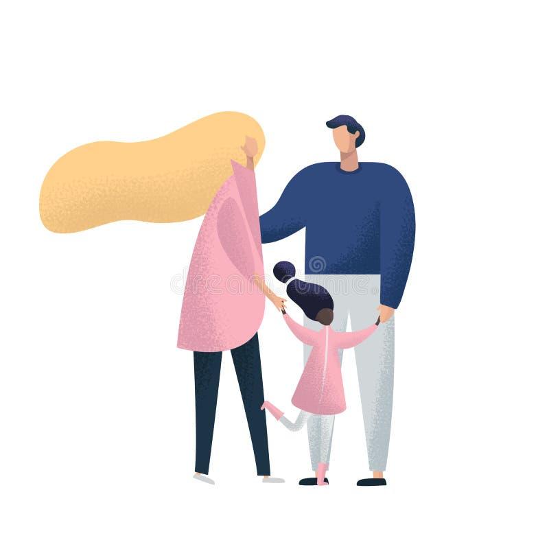 Matka, ojciec i dzieci adoptowane, obraz royalty free