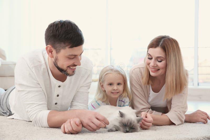 Matka, ojciec i ich córka z kotem, w domu zdjęcie royalty free