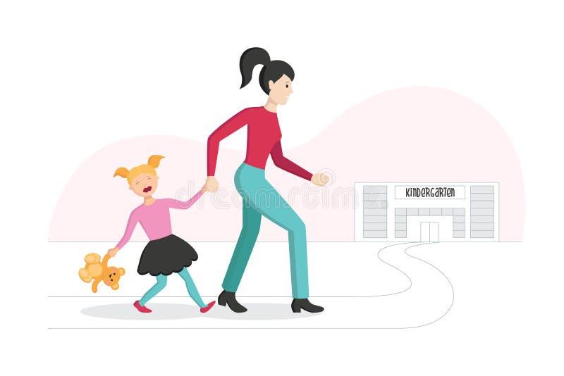 Matka prowadzi jej córki dzieciniec dziecko odpoczywa i no chce iść ilustracji