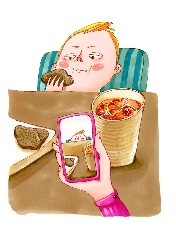 Matka robi dziecka ` s fotografii w kawiarni ilustracja wektor