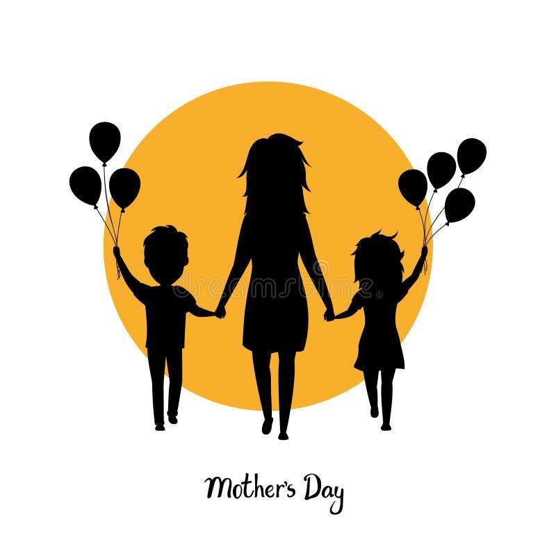 Matka, sylwetka, chłopiec i dziewczyna odprowadzenie z balonami wpólnie trzyma ręki dzieci, szczęśliwy matka dzień odizolowywaliś royalty ilustracja