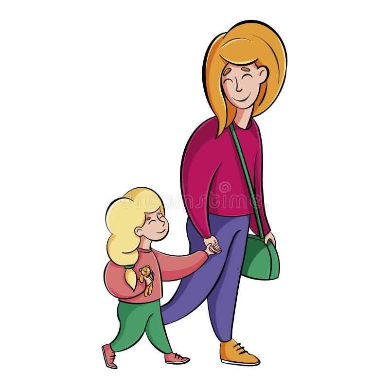 Matka trzyma c?rki r?k? kobieta z dziecko spacerem ilustracji