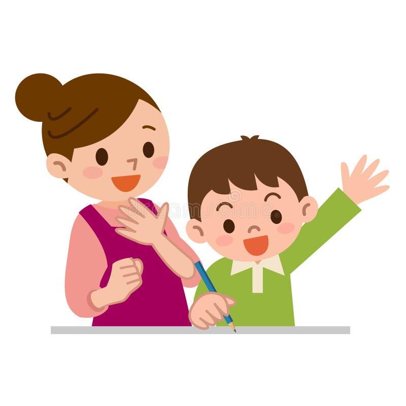 Matka uczyć naukę dzieci royalty ilustracja