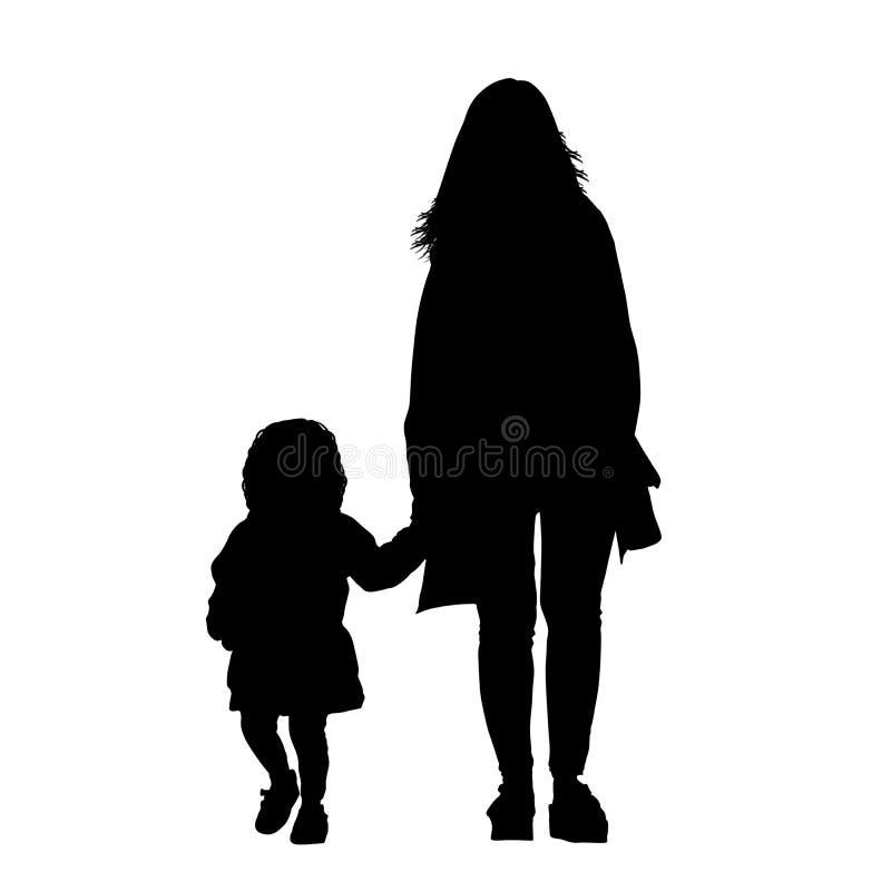 Matka z córek sylwetkami ilustracja wektor