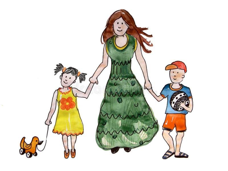 Matka z dwa dzieciakami iść bawić się ilustracji
