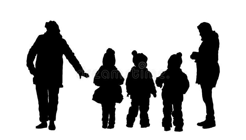 matka z dziećmi i nianią ilustracji